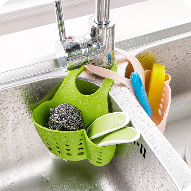 1pc Kitchen Sink Sponge Holder Bathroom Soap Hanging Shelving Rack Drain Faucet Storage Pail Shelves