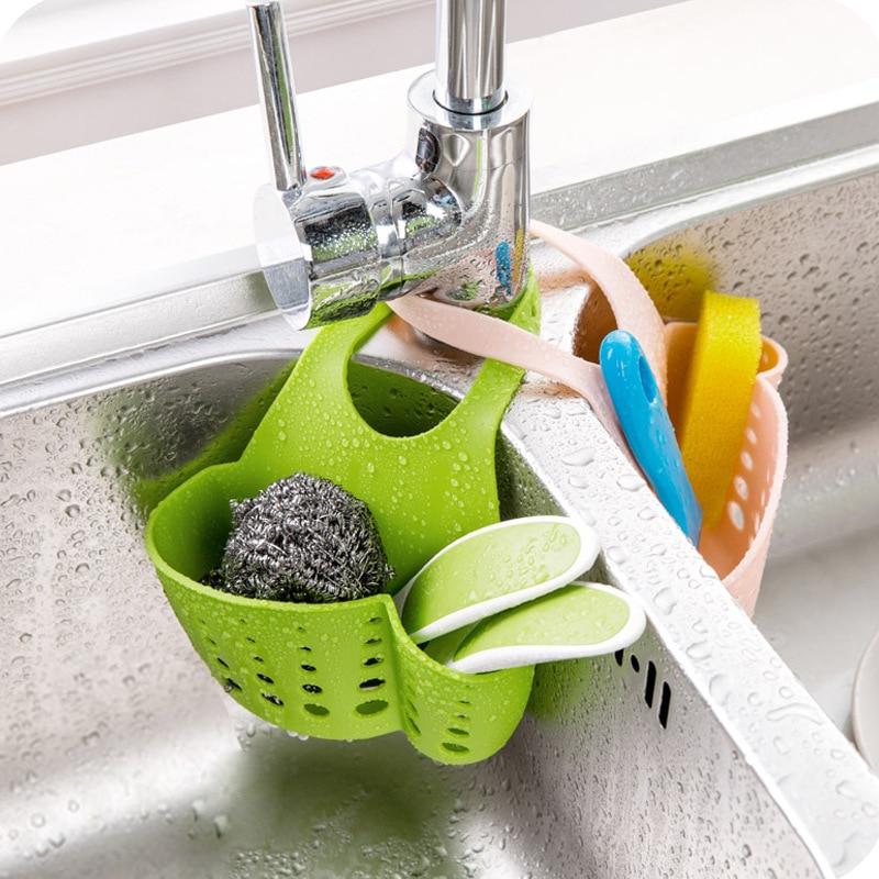 1pc kitchen sink sponge holder bathroom soap hanging shelving rack drain faucet storage pail shelves