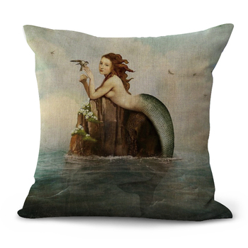 Painted Mermaid Cushion Cover