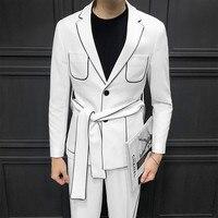 Spring Long Sleeve Belt Decoration Man's Suit Korean Self cultivation Weave Bring Full Dress Suits Men Suits Two piece suit
