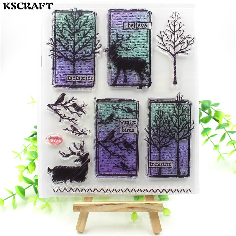 KSCRAFT Winter Tree Transparent Clear Silicone Stamps for DIY Scrapbooking/Card Making/Kids Christmas Fun Decoration Supplies kscraft butterfly and insects transparent clear silicone stamps for diy scrapbooking card making kids fun decoration supplies