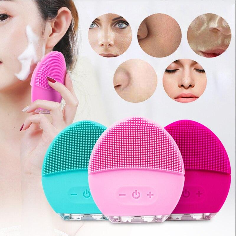 Skin Care Machine Mini Electric Facial Cleaning Brush Silicone Sonic Vibracion Deep Pore Cleaner Face Massager Vibrator Brush