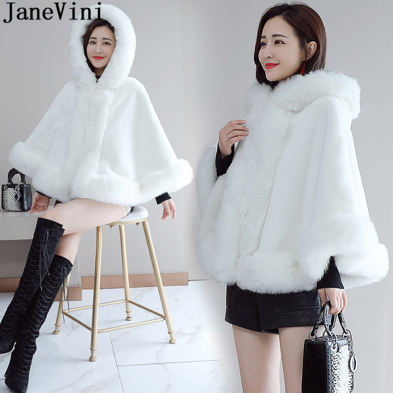 JaneVini Winter Hooded Faux Fur Bolero For Women Bridal Fur Shawl Short Hood Cape White Wrap