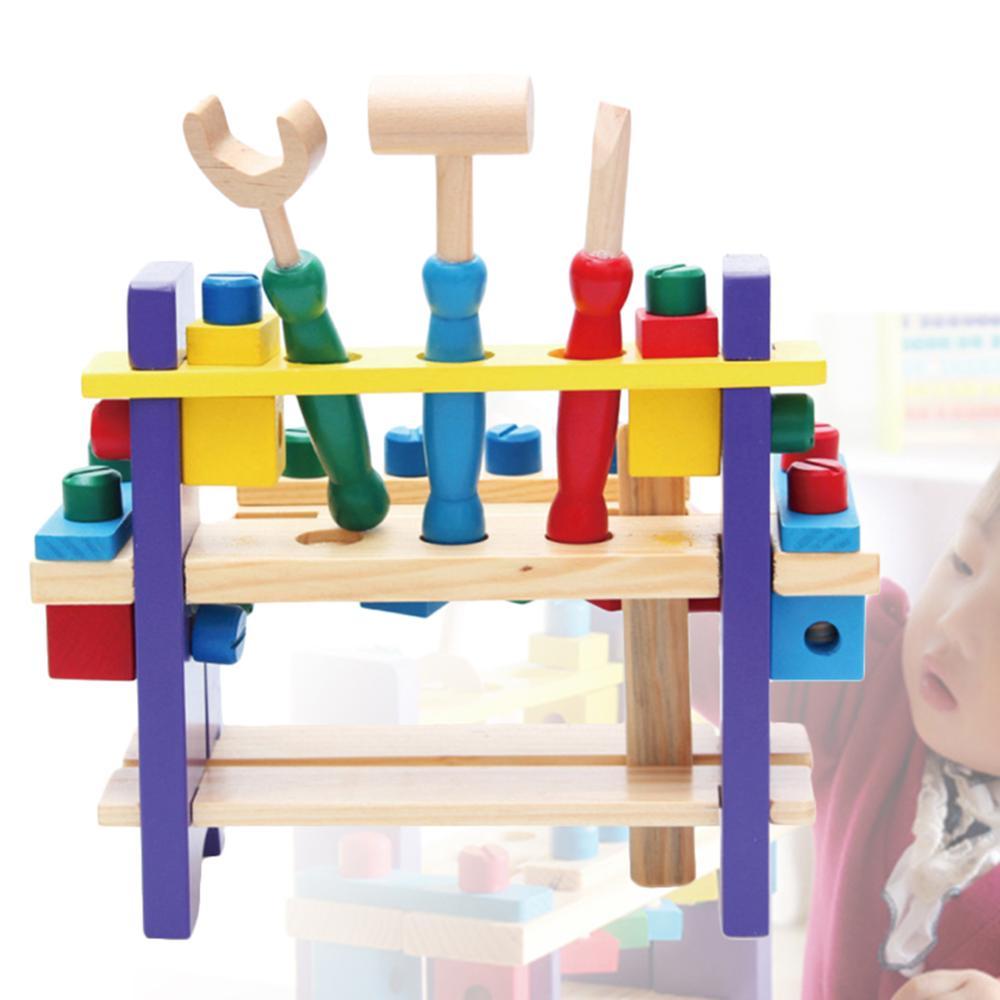 Kid Children Wooden Wrench Hammer Screwdriver Workbench Tool Pretend Builder Toy