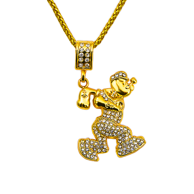 Wholesale Hip hop bling bling fashion rock mens American anime Popeye Alloy    Rhinestone choker necklace Pendant c35496baf