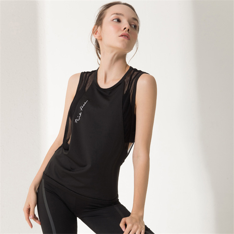 Acheter Femmes Yoga T Shirt De Yoga Femme Maille Sans Manches De Yoga Débardeur Collants Sport Tops Fitness Chemise Femmes À Séchage Rapide Chemises De Course de Chemises de yoga fiable fournisseurs