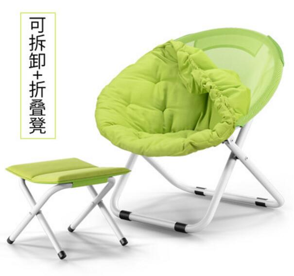 High quality 80*76*52cm Comfortable Folding lounger sofa chair breathable Moon Chair with small stool 240337 ergonomic chair quality pu wheel household office chair computer chair 3d thick cushion high breathable mesh