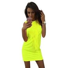 Hanım Kapalı Omuz Kolsuz O-Boyun Kalem Elbise Moda Sıcak Neon Püskül Elbise Yaz Seksi Gece Kulübü Mini Elbiseler Vestidos