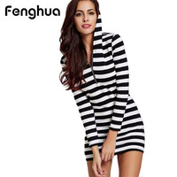 Fenghua Casual Summer Dress For Women Classic Black White Striped Long Sleeve Slim Bodycon Pencil Plus