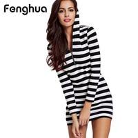 Fenghua Casual Summer Dress For Women Classic Black White Striped Long Sleeve Slim Bodycon Pencil Plus