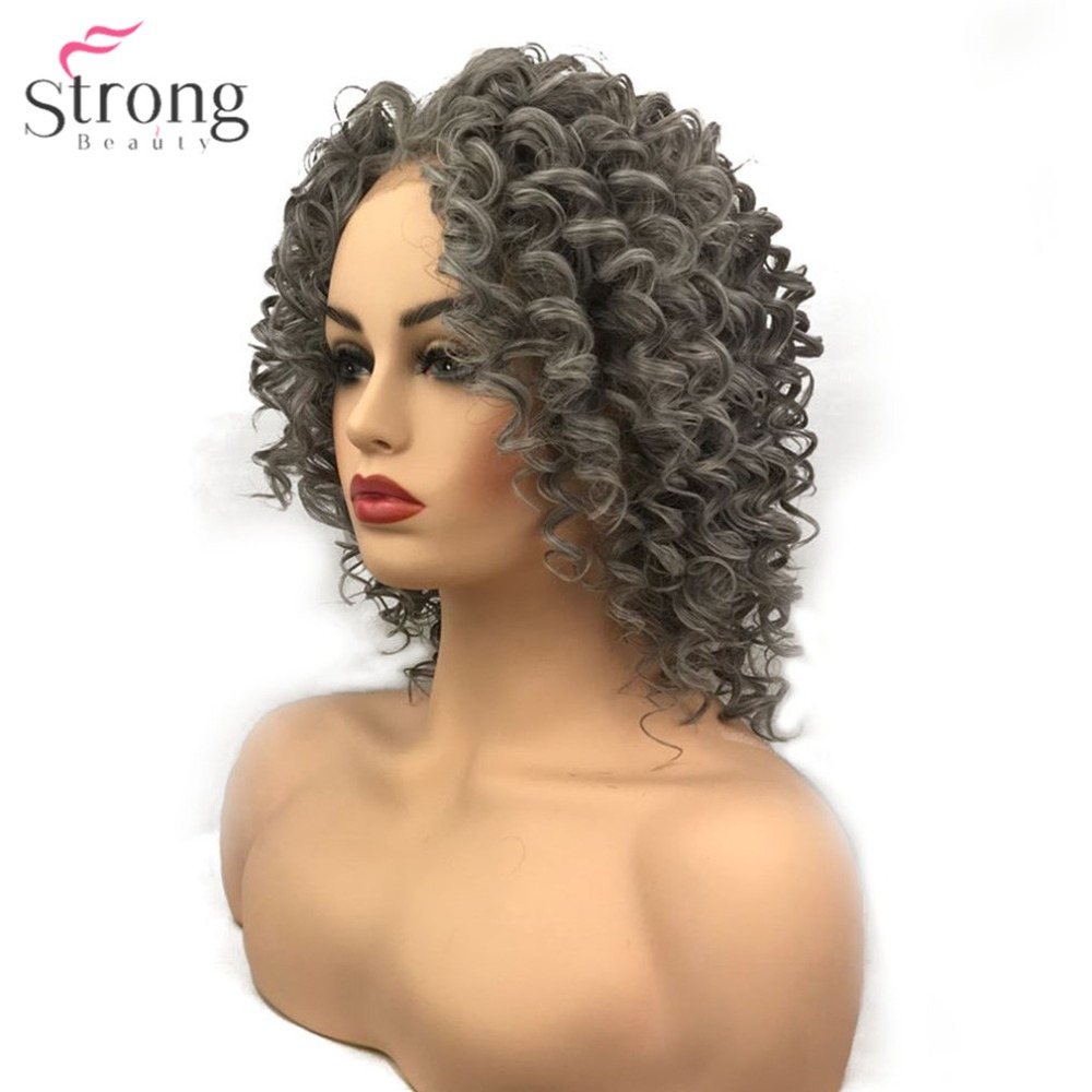 StrongBeauty Women s Synthetic Lace Front Wigs Gray Light brown Ombre Medium Hair African American Wig