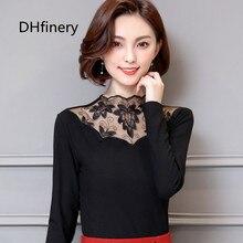 DHfinery t shirt women autumn winter Plus thick velvet wild hollow lace collar t-shirts black warm long sleeved t-shirt H8315