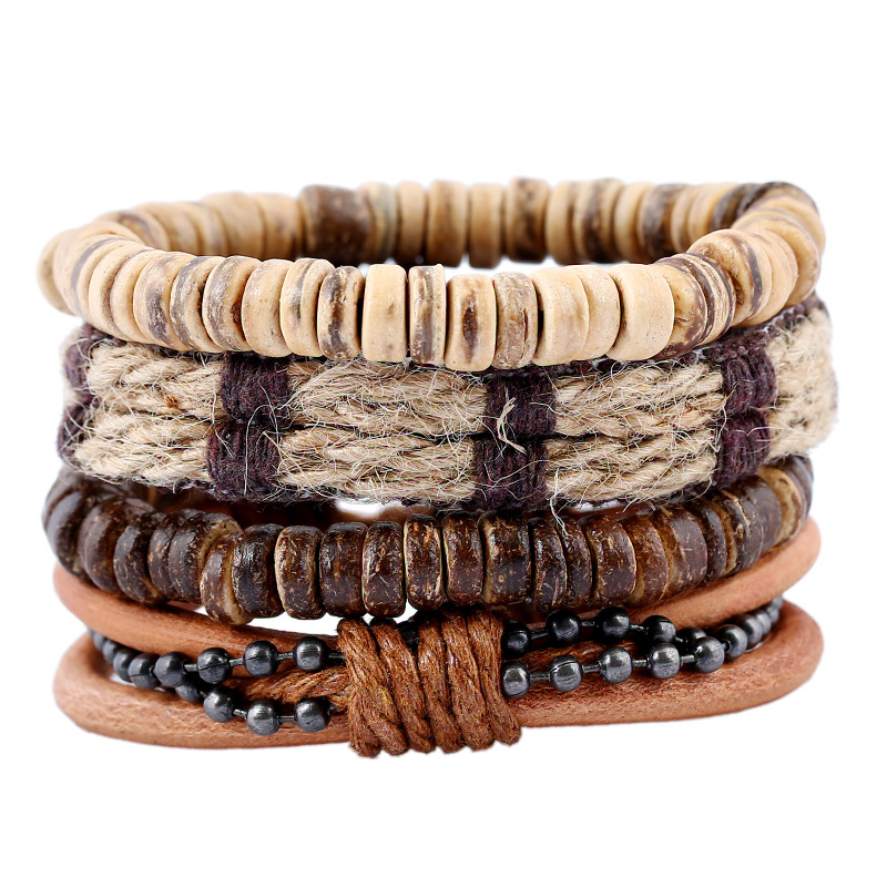 4PCS/<font><b>Set</b></font> Boho Gypsy Hippie Punk Charm Beige Coconut Beads Brown Hemp Cord Macrame Stacked Layer Leather <font><b>Bracelets</b></font> <font><b>Set</b></font> <font><b>Unisex</b></font> image