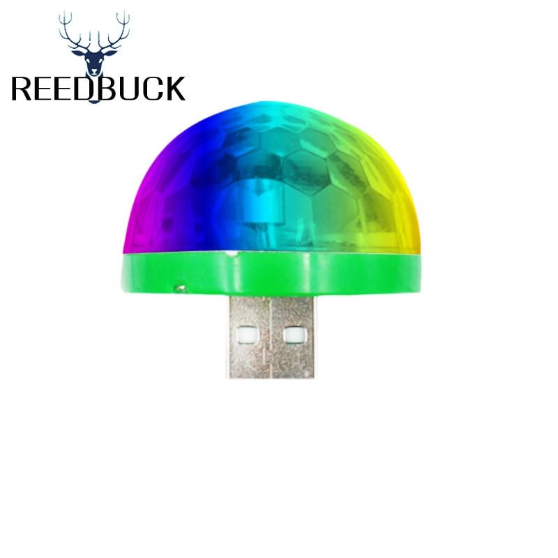 Portable RGB USB Music Disco Crystal Rotating Ball Holiday Light Stage Lamp Xmas Birthday KTV In Power Bank Computer Notebook thumbnail