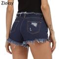 Zioksy 2017 Двойной карман женщины Отверстие шорты Летние случайные джинсовые шорты vintage горячие шорты джинсовые шорты для женщин