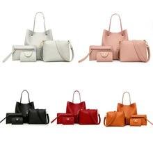 4pcs Women Fashion Leather Handbag Shoulder Bag Tote Purse Messenger Satchel Set стоимость