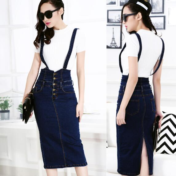 42c81b8630e Plus Size Women Clothing Denim Suspender Skirt Long 2018 Hot Sale Korean  Style Casual Pencil Women Jean Skirts 3XL AH426-in Skirts from Women s  Clothing on ...