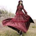 Shiping libre 2017 de La Manera Mujeres de la Impresión Floral de Algodón Bohemio Maxi Largo Manga Farol Flor Vestidos Primavera Y El Otoño Precioso