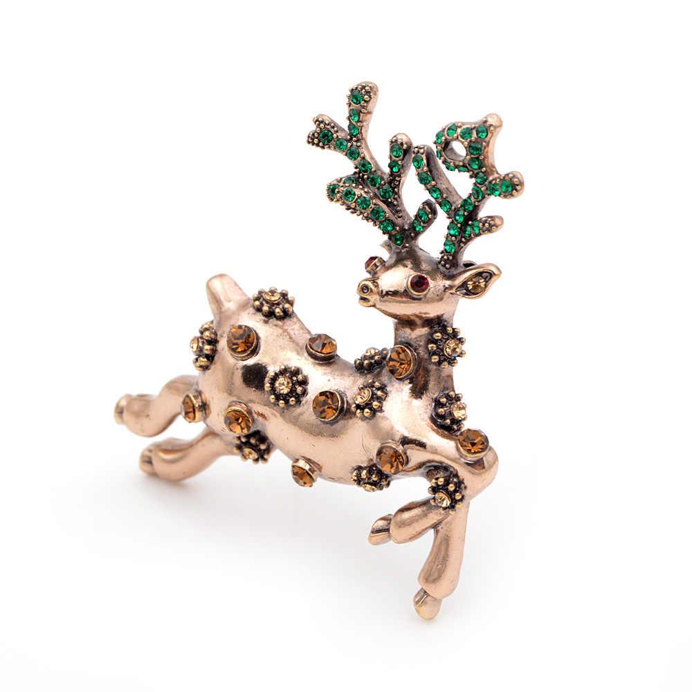 Cindy Xiang Cute Rhinestone Rusa Bros untuk Wanita Hadiah Natal Pin Perhiasan Berwarna-warni Pesta Gaun Mantel Aksesoris Baru 2018