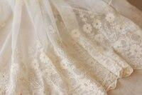 Кружевная отделка, Вышитое Марлевое кружево, белая Античная кружевная отделка, свадебная кружевная ткань с ретро цветочным узором 1 ярд