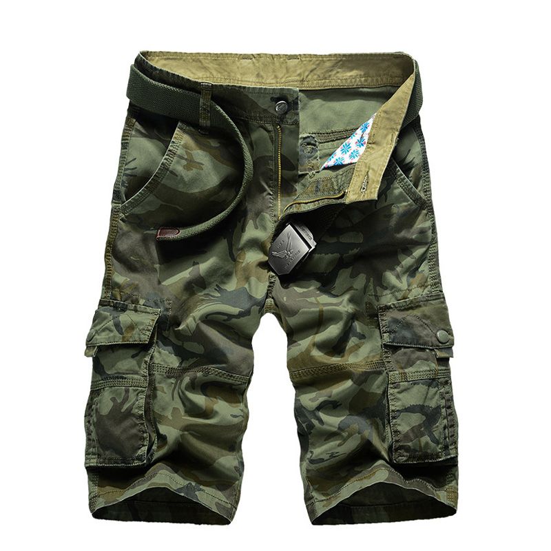 2018 New Summer Camouflage Cargo Shorts Men Loose Mens Military Trousers Size 29-44 Casual Man Short Pants No Belt