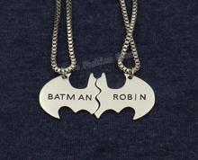 2016 Trendy Batman and Robin Lovers' Necklace,the Best Friends BBF Gift Collier Maxi Necklace Steampunk Jewelry