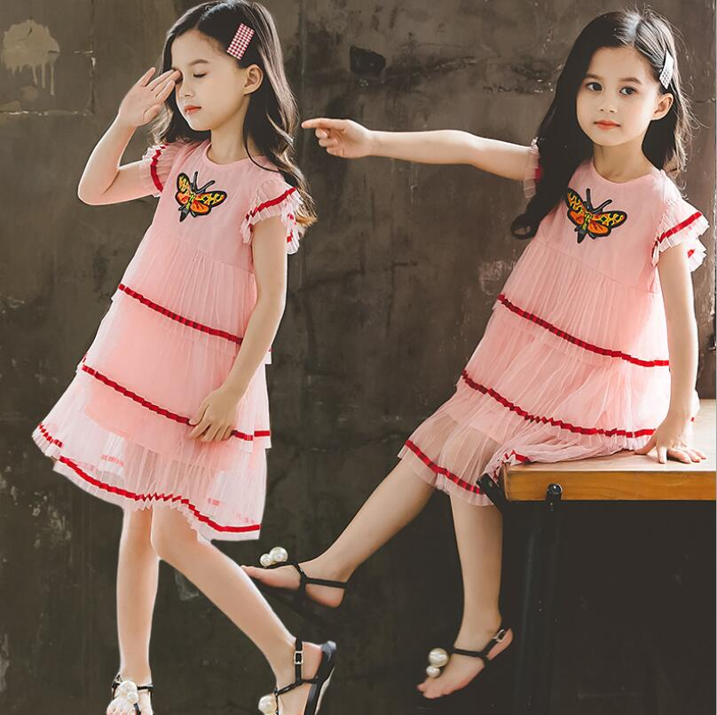 New Retail 2019 Summer Children Girls Butterfly Embroidery Pleats Cake Dresses, Kids Fashion Boutique Pink Dress Free ShippingNew Retail 2019 Summer Children Girls Butterfly Embroidery Pleats Cake Dresses, Kids Fashion Boutique Pink Dress Free Shipping