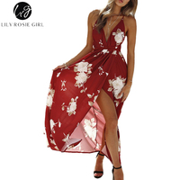 Lily Rosie Girl Red Floral Print Sexy V Neck Women Dresses 2018 Summer Boho Sleeveless Dress