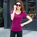 Plus Size Women T-shirt 2016 New Fashion Solid Slim Fit Casual Tops Elegant Tee Shirt Femme Korean Style Clothing Hot Sale M-4XL