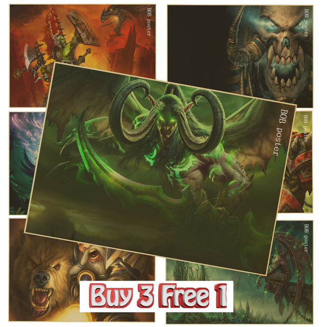 Game WORLD OF WOW Poster Boys Room Decor Kraft Paper Warcraft Wallpaper Vintage Posters For