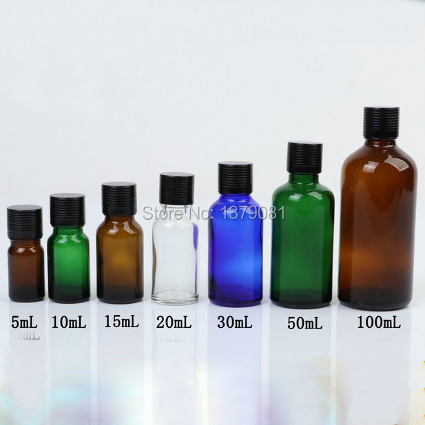 5ml,10ml,15ml,20ml,30ml,50ml,100ml Colorful Glass Bottle Black Screw Cap,Essential Oil Bottle DIY Sample Vials Cosmetic Packing fcl wholesale 5 10 15 20 30 50 100ml empty blue glass essential oil bottle without cap