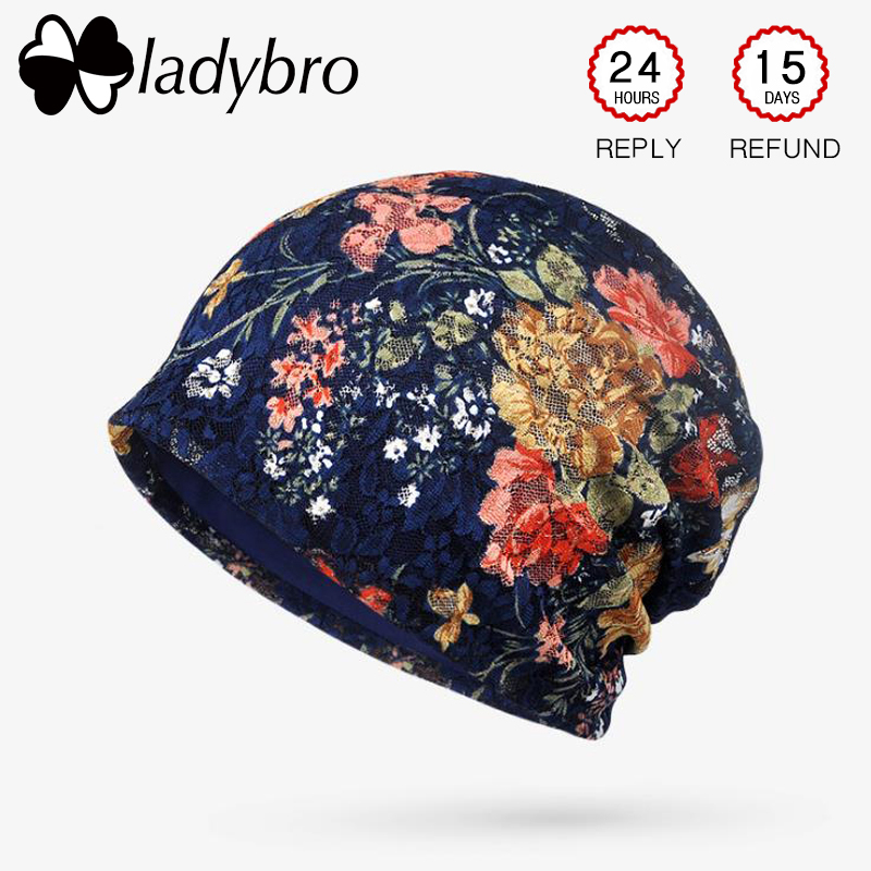 Ladybro Autumn Lace   Beanies   Hat Women   Skullies     Beanies   Cap Printing Cotton Hat Lady Bonnet Hat Femme Casual Floral Cap Female