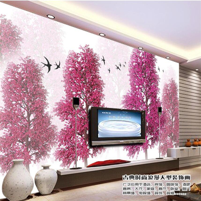 beibehang Large Custom Wallpaper Mural Abstract Pink Peach Cherry ...