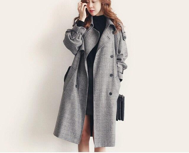 2016 new double-breasted winter women coat female slim plaid women jacket chaquetas mujer jaqueta feminina casaco feminino