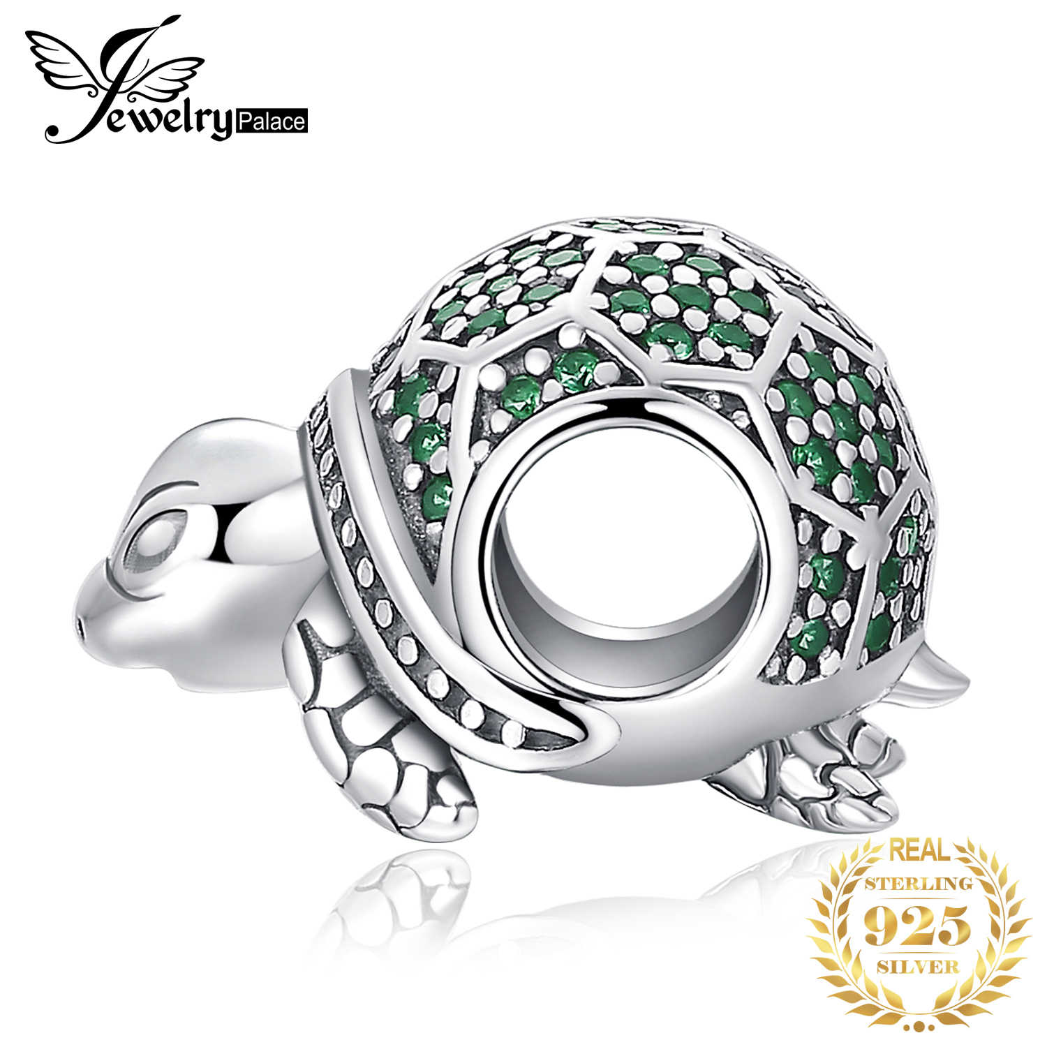 JewelryPalace Oceano Animal Tartaruga Nano Russa Simulado Esmeralda 925 Prata Esterlina Grânulos de Charme Para As Mulheres 2018 New Hot