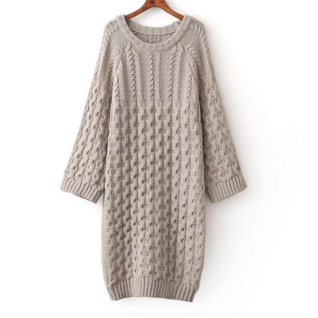 Sweater Dress Cable Spring New Long 2017 Women Fashion Loose Knit dosChBrxtQ