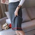 2016 Autumn Winter Women Knitted Skirts Korean Institute Wind Chic Patchwork Knit Pleated Skirt Girls Vintage Knee Length Skirt