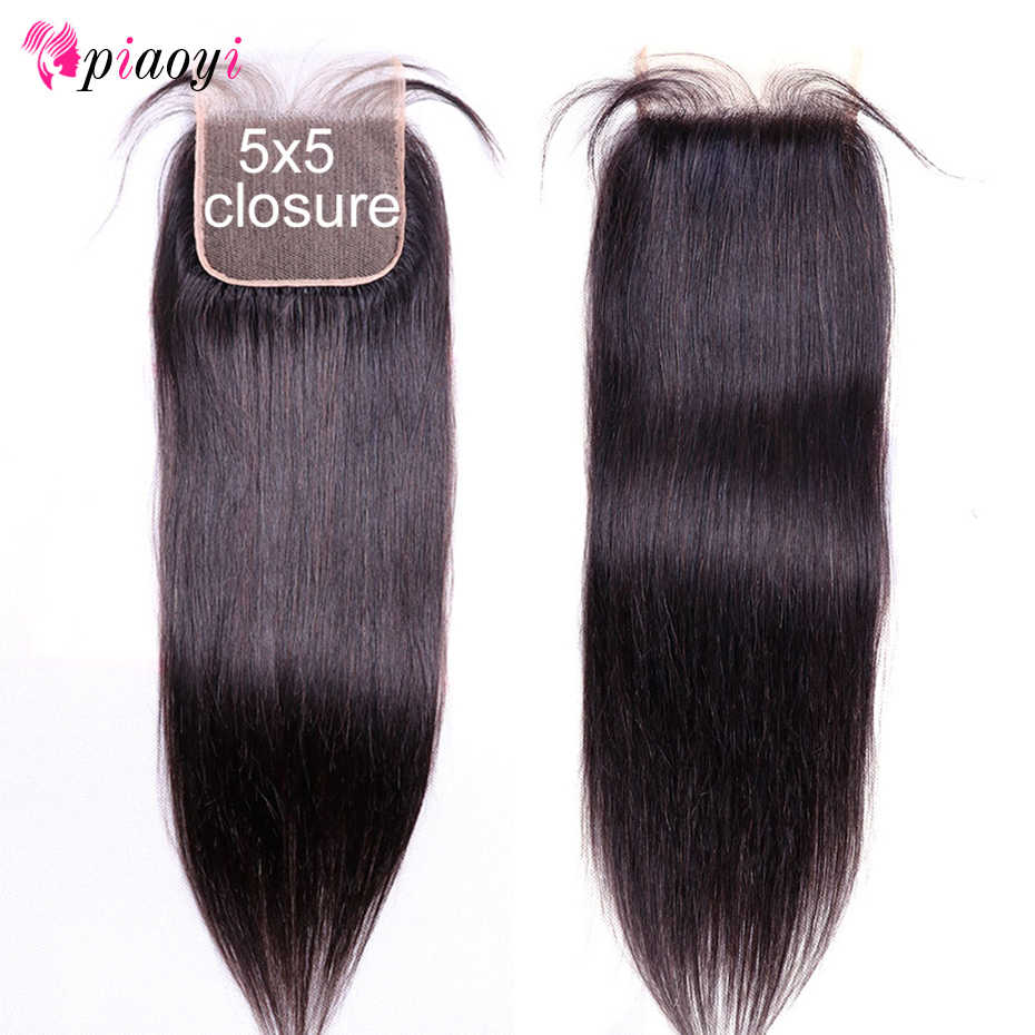 Piaoyi 5x5 Brazilian Straight Lace Closure 130% Density 100% Human Remy Hair Closure Free Middle Three Part Swiss Lace Closure