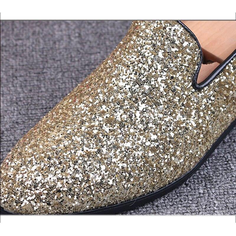 Mocassins Casuais Partido Masculinos Dos Slip Moda Flats Couro Homens De 43 Da Dourado ouro Preguiçosos prata Sapatos On 2018 Preto Brilho 8ZF71q5