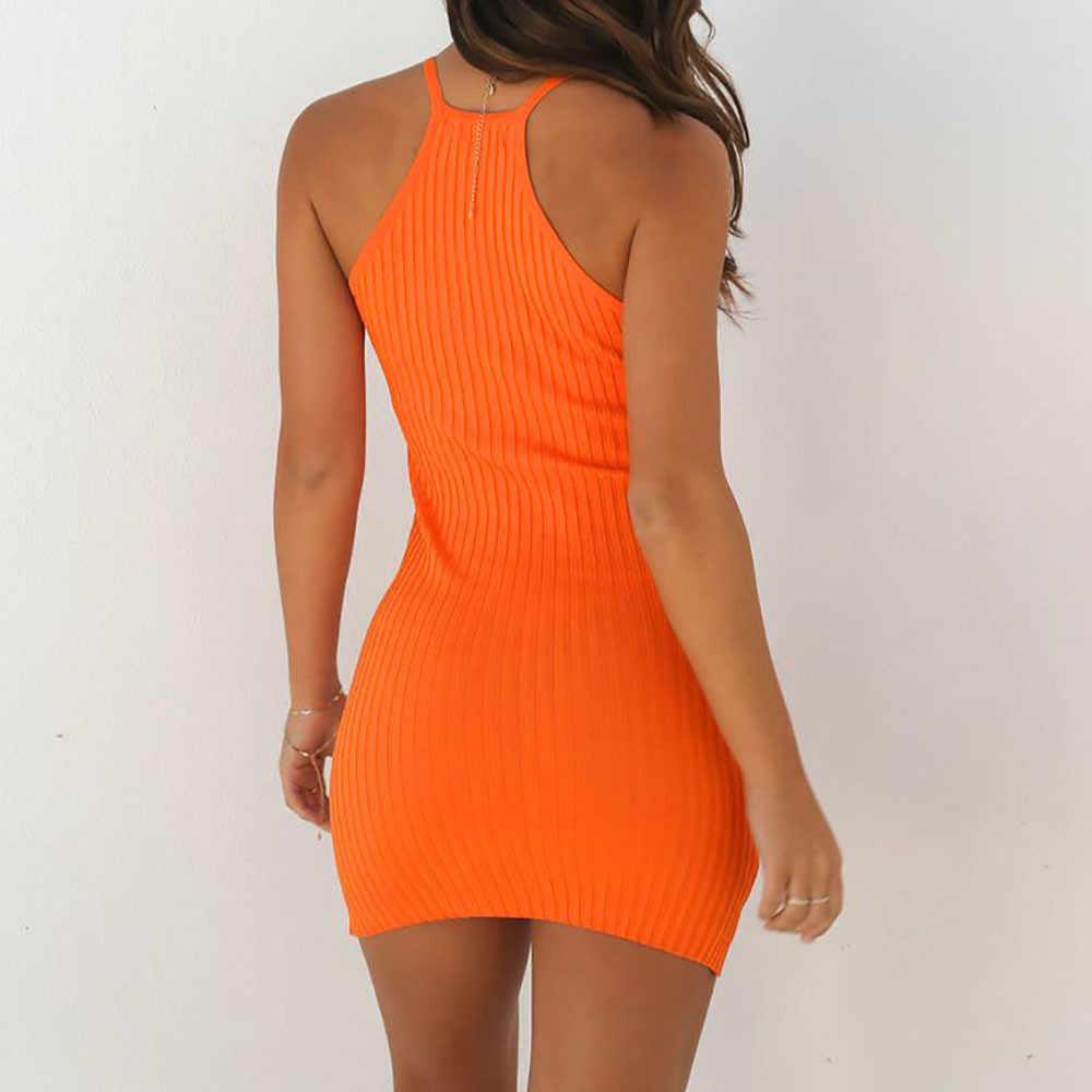 Sexy mocno prążkowany małe sukienka na ramiączkach lato proste moda jednolity kolor sukienka klub nocny wieczór Party otwórz wróć bez ramiączek sukienki
