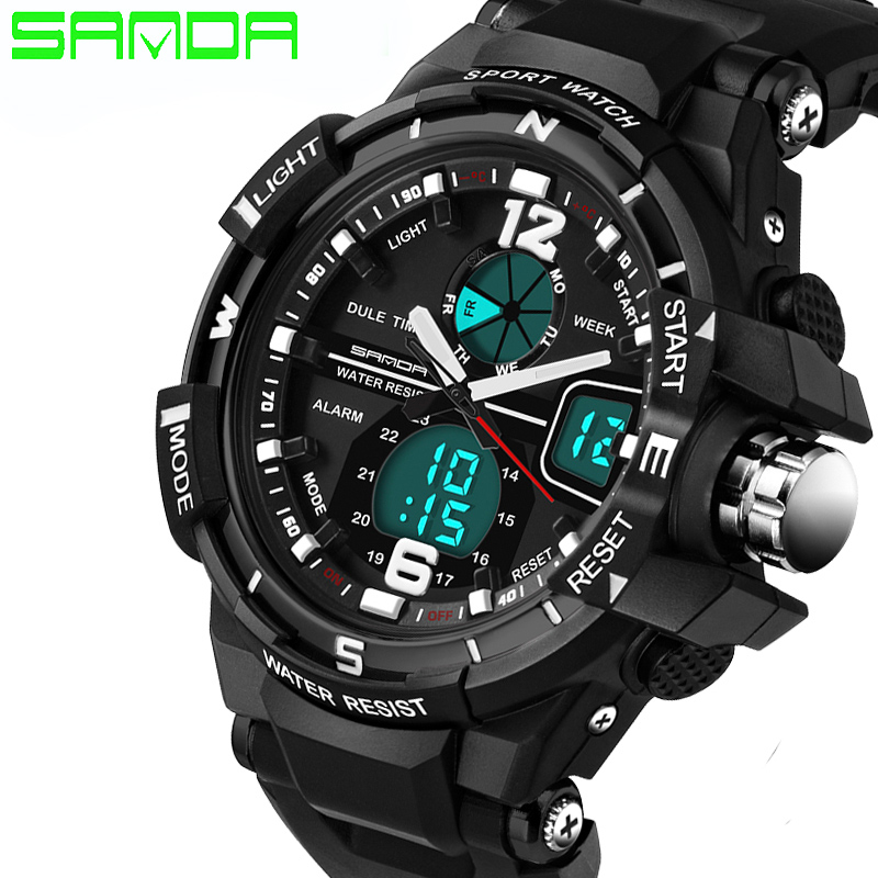 2017 SANDA Original Brand Men Military font b Watch b font LED Digital font b Watch