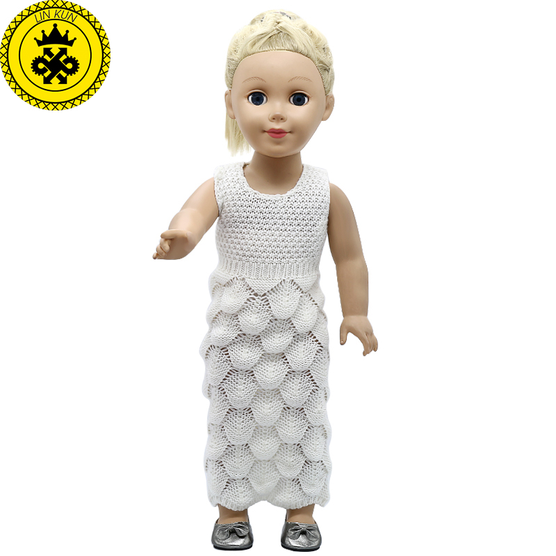 American Girl Doll Clothes Woolen Hand-woven Dress Sleeveless Long Dress fit 18 inch Dolls Baby Born Doll Accessories MG-333 american girl doll clothes for 18 inch dolls beautiful toy dresses outfit set fashion dolls clothes doll accessories
