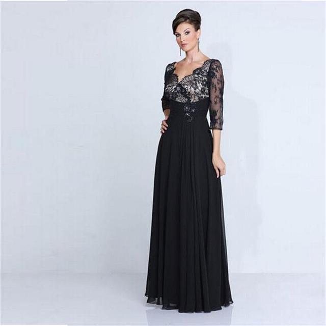 2016 elegante Sexy V Neck mangas 3/4 Black Lace Chiffon mãe da noiva vestidos de noiva Plus Size A linha mãe vestido de noite