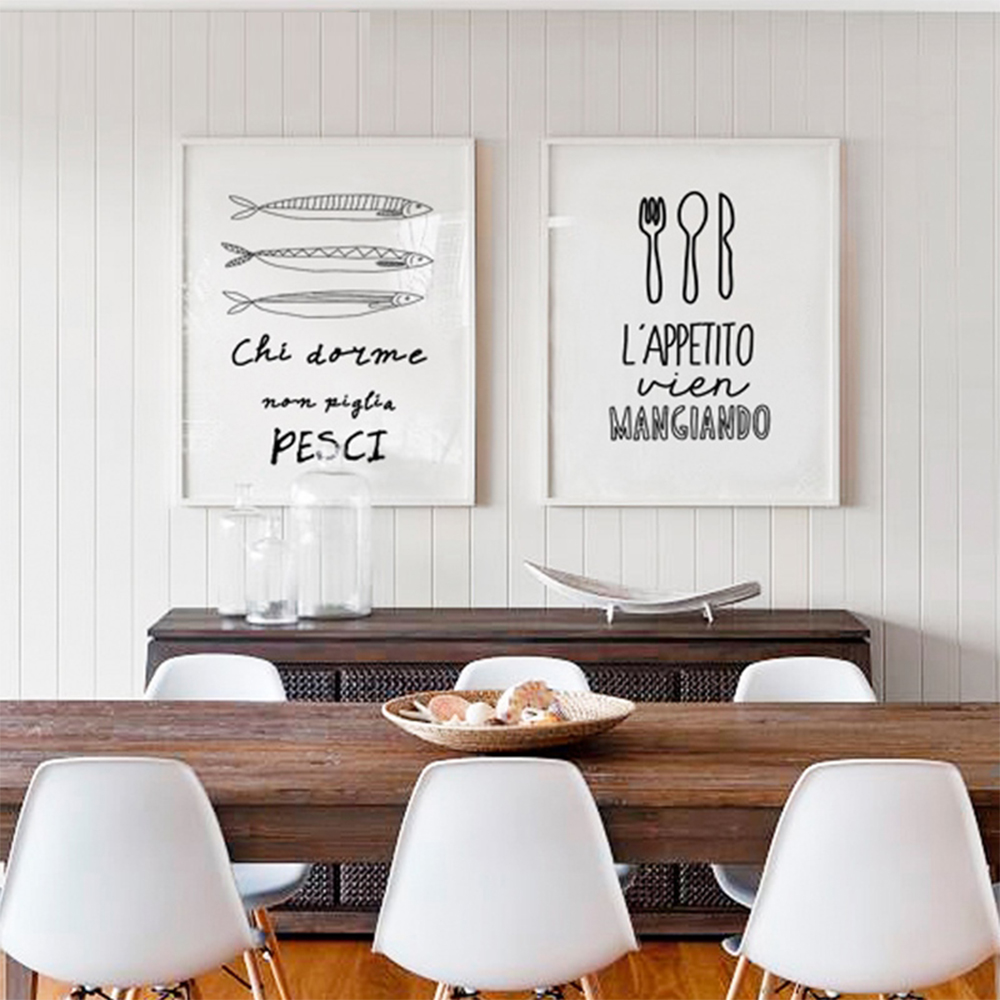 WANGART Modern Black White Food Coffee Quotes Canvas Pictures Wall ...