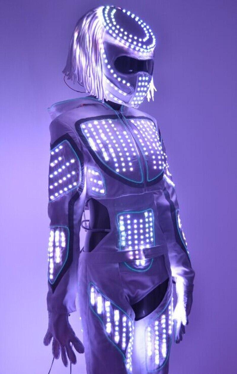 Traje de la danza de las muchachas LED robot luminoso brillantes ...