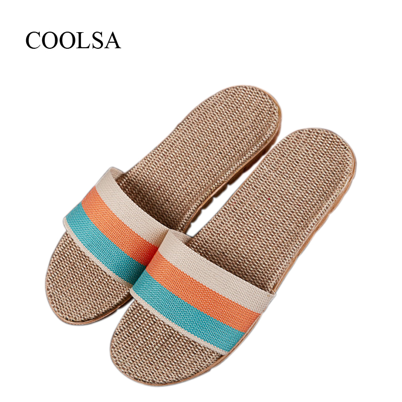 COOLSA Women's Summer Striped Linen Silppers Breathable Non-slip Fashion Indoor Slippers Women Hemp Slides Women's Flax Slippers coolsa women s summer flat non slip linen slippers indoor breathable flip flops women s brand stripe flax slippers women slides