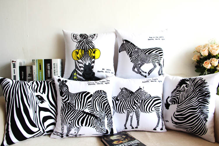 Free shipping black and white zebra Home Furnishing creative gift sofa cushioncar  pillow cover soft fitted waist pillow