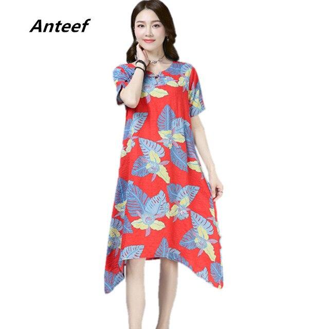 dafa5a67248 Anteef white cotton linen plus size vintage floral print clothes women  casual midi summer dress vestidos