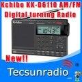 Frete Grátis Varejo-Atacado Kchibo KK-D6110 AM FM DSP rádio portátil notícias