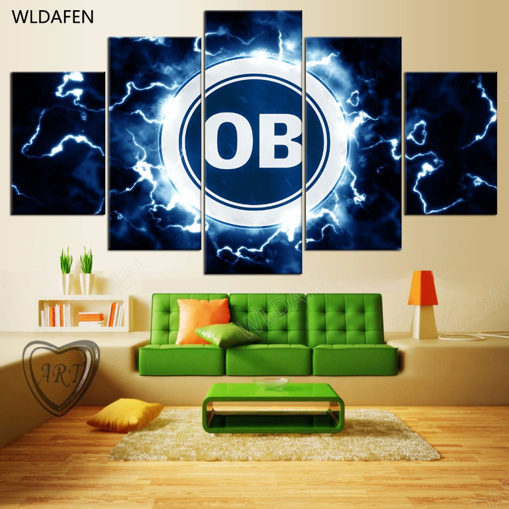 5 Pieces Sports Team Deco Fans Posters Oil Painting On Canvas Modern Home Pictures Prints Decor Living Room PH4-1759